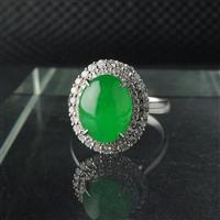 满艺《镶金绿水戒指》